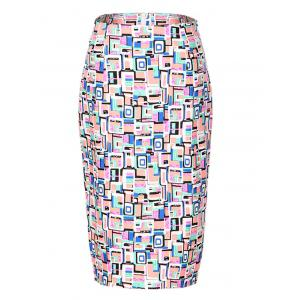 OL High Waist Hit Color Bodycon Skirt For Women - Colormix - S