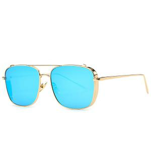 Stylish Metal Frame Rectangle Mirrored Sunglasses For Women