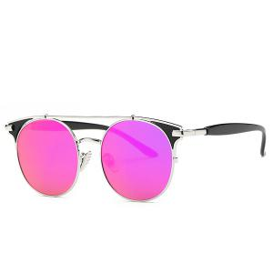Stylish Crossbar Cat Eye Mirrored Sunglasses For Women - Purple - 9