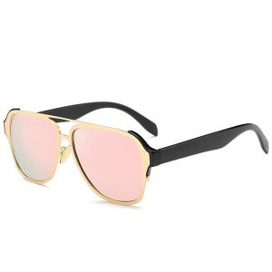 Stylish Cut Out Pink Pilot Mirrored Sunglasses For Women