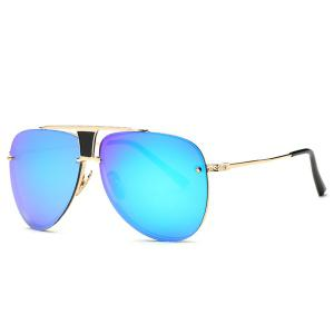 Stylish Frameless Pilot Mirrored Sunglasses - Blue - M