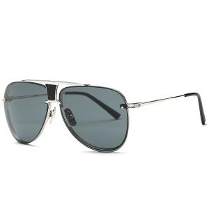 Stylish Frameless Pilot Sunglasses - Gray - M
