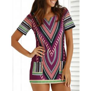 Chic Short Sleeve Patch Pocket Totem Printed Dress For Women