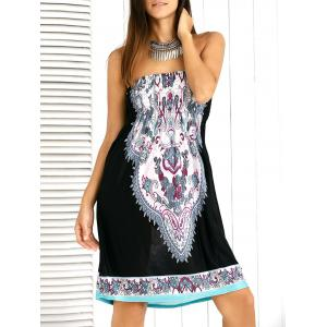 Paisley Ornate Printed Shirred Strapless Mini Summer Dress - Black - One Size