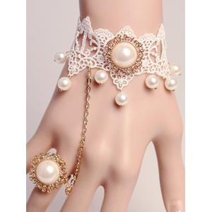 Faux Pearl Lace Bracelet with Ring - White - One-size