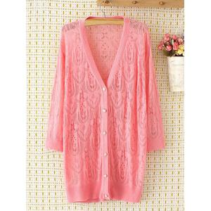Long Sleeve Oversized Openwork Buttoned Long Cardigan - Pink - 2xl