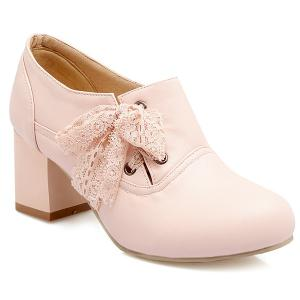 Sweet Lace and Chunky Heel Design Ankle Boots For Women - Pink - 37