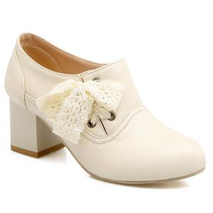 Sweet Lace and Chunky Heel Design Ankle Boots For Women