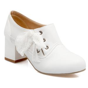 Sweet Lace and Chunky Heel Design Ankle Boots For Women - White - 43
