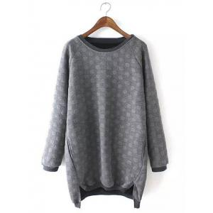 Plus Size Casual Polka Dot Pattern Sweatshirt - Gray - Xl