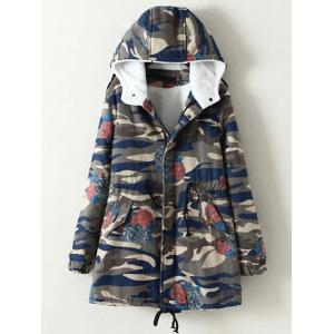 Oversized Casual Camouflage Hooded Cotton Padded Coat - Camouflage - 4xl