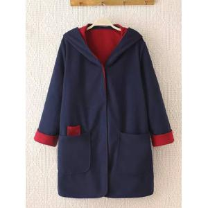 Plus Size Cuffed Sleeve Two Tone Coat - Blue And Red - Xl