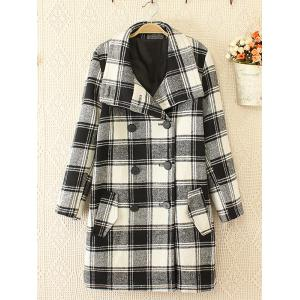 Plus Size Plaid Woolen Double Breasted Coat - White And Black - Xl