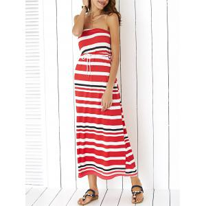 Maxi Strapless Stripe Drawstring Casual Dress