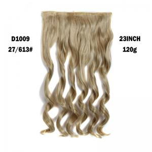 Fashion Long Capless Fluffy Wavy Clip In Women's Synthetic Hair Extension - Golden Brown With Blonde - 68cm