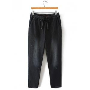 Oversized Bleach Wash Drawstring Denim Pants - Black - 4xl