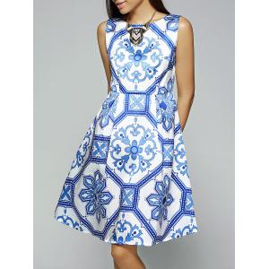 Vintage Slash Neck Sleeveless Printed Dress