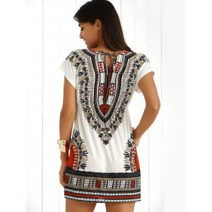 Casual Ethnic Summer Mini Dress - JACINTH ONE SIZE