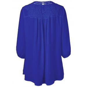 Plus Size Sweet Crochet Spliced Tunic Blouse - SAPPHIRE BLUE L