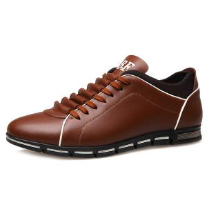 Fashion Splicing and PU Leather Design Casual Shoes For Men - DEEP BROWN 44