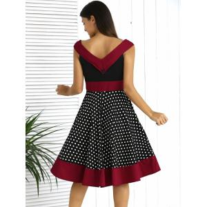 Retro Style Button Front Color Spliced Polka Dot Dress For Women - BLACK 2XL