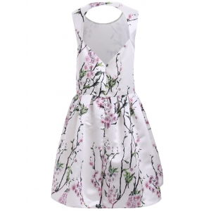 Vintage Floral Print Back Cut Out A Line Dress - WHITE 2XL