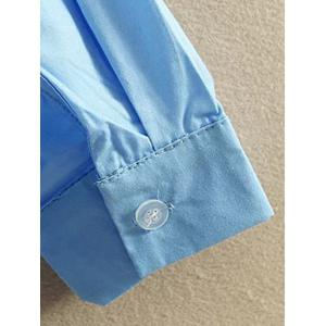 Oversized Embroidered Long Sleeves Shirt - LIGHT BLUE XL