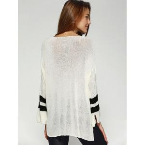 Chic Scoop Neck Loose Striped Sleeve High Low Knitwear For Women - WHITE ONE SIZE