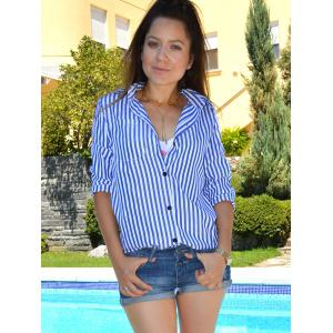 Shirt Collar Stripes Print Casual Long Sleeve Blouse For Women - BLUE/WHITE M
