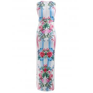 High Slit Floral Pattern Bodycon Maxi Dress -