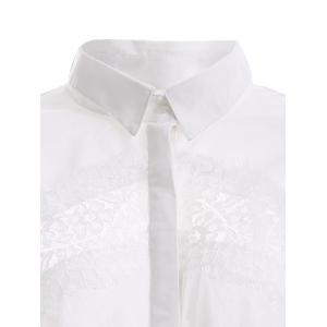 Elegant Lace Trim High Low Hem Chiffon Shirt -