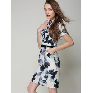 Chic Stand Collar Buttoned Pocket Design Printed Women's Dress -