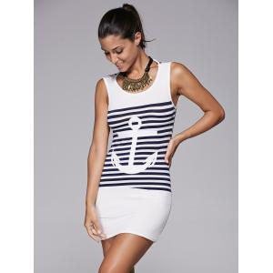Casual Scoop Collar Striped Anchor Pattern Women's Dress -