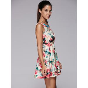 Sleeveless Floral Print Mini Skater Dress - BEIGE M