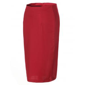 OL High Waist Pure Color Bodycon Skirt For Women - RED L