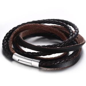 Faux Leather Braid Layered Bracelet -