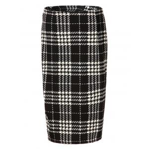 High Waist Plaid Midi Pencil Skirt - BLACK 2XL