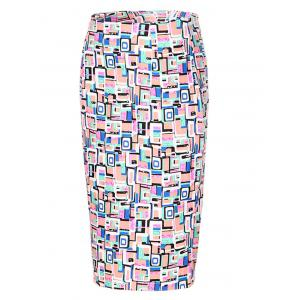 OL High Waist Hit Color Bodycon Skirt For Women - COLORMIX S