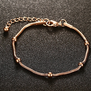 Gold Plated Bead Snack Chain Bracelet -
