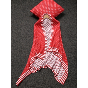 Home Decor Warm Comfortable Christmas Red Mesh Knitted Pillow Case and Blanket -
