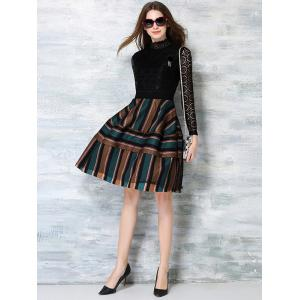Trendy Lace Splicing Striped Hollow Out Women's Dress -