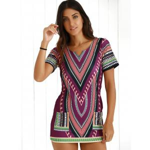 Chic Short Sleeve Patch Pocket Totem Printed Dress For Women -