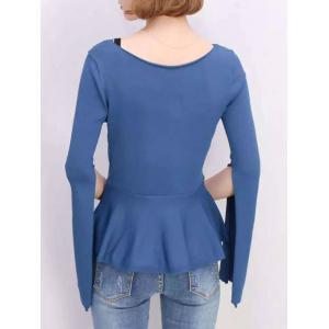 Furcal Bell Sleeve Pure Color Blouse -