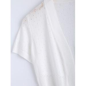 Simple Short Sleeve Ribbed Knitted Cardigan For Women -