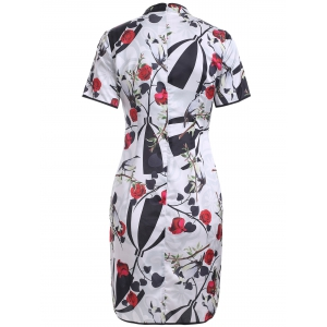 Vintage Plate Button Rose Pattern Cheongsam -