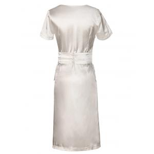 Glossy Pure Color Wrap Dress For Women -