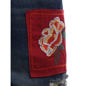 Drawstring Applique Embroidery Shorts -