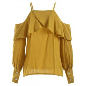 Cute Spaghetti Strap Ruffle Pure Color Blouse -