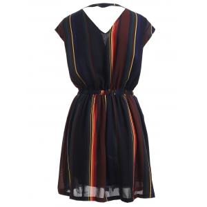 Hollow Out Striped Button Design Dress -