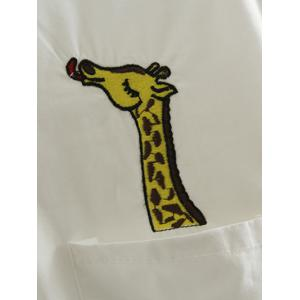 Long Sleeve Casual Oversized Giraffe Embroidered Shirt - WHITE 5XL